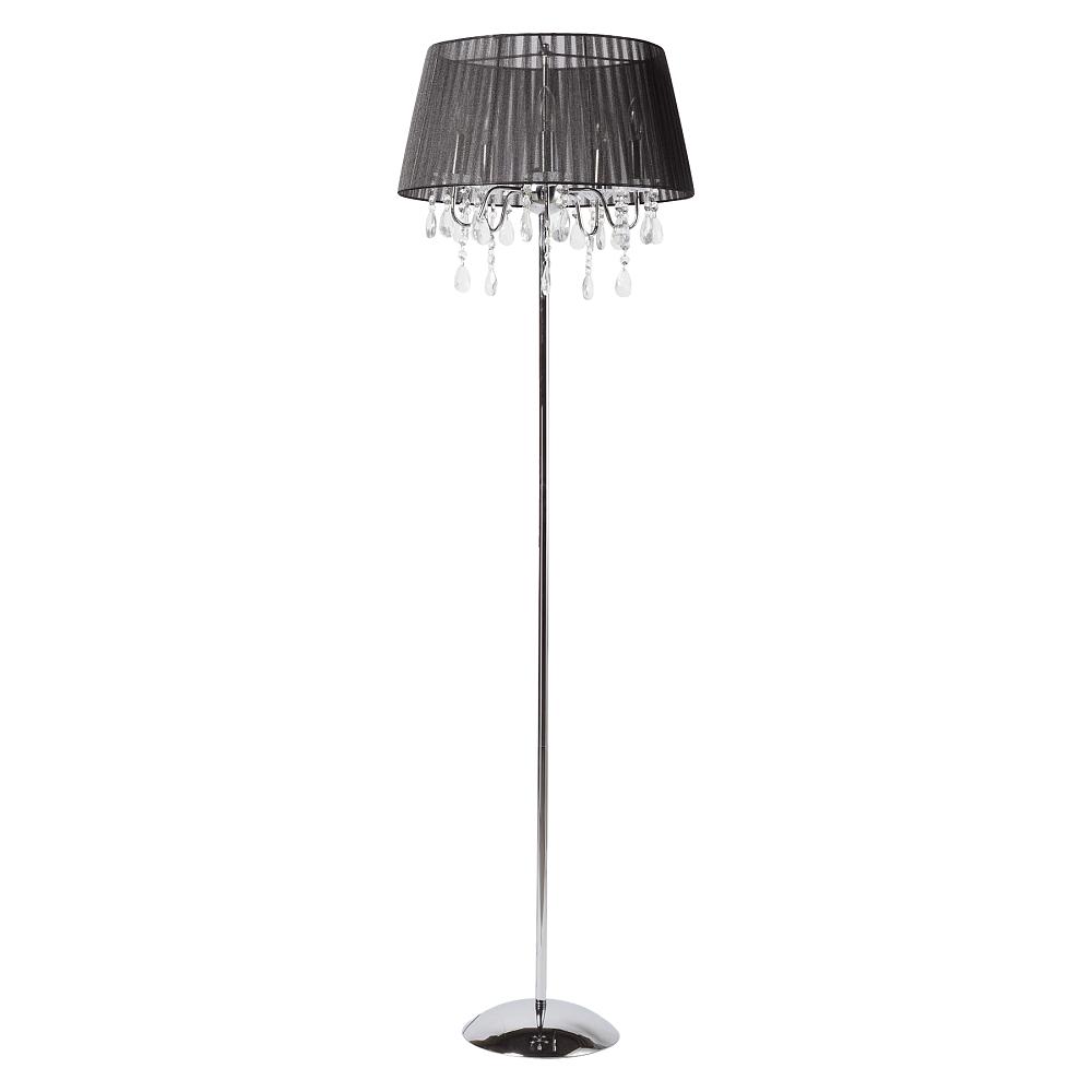 Торшер Venecia DG-HOME Напольная лампа: черный тканевый абажур  размер диаметр 47 см, высота 22 см; основание  хромированное железо, хрусталь; предназначена  для использования со светодиодными лампами  Е14-5 ламп (лампы не включены в комплект)