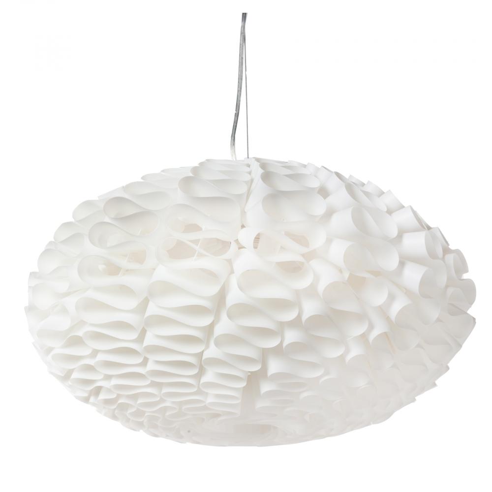 Люстра ArticheЛюстры<br>Подвесная лампа: ПВХ абажур; основание <br>хромированное железо; предназначена для <br>использования со светодиодными лампами <br>Е27-1 лампа (лампы не включены в комплект)<br><br>Цвет: Белый<br>Материал: Металл, ПВХ<br>Вес кг: 2,7<br>Длина см: 50<br>Ширина см: 50<br>Высота см: 26