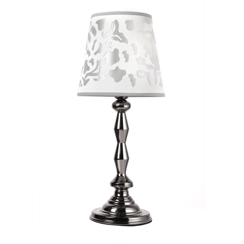 Настольная лампа TernulaНастольные лампы<br><br><br>Цвет: Серый<br>Материал: Металл, Текстиль<br>Вес кг: 3,2<br>Длина см: 22<br>Ширина см: 22<br>Высота см: 52