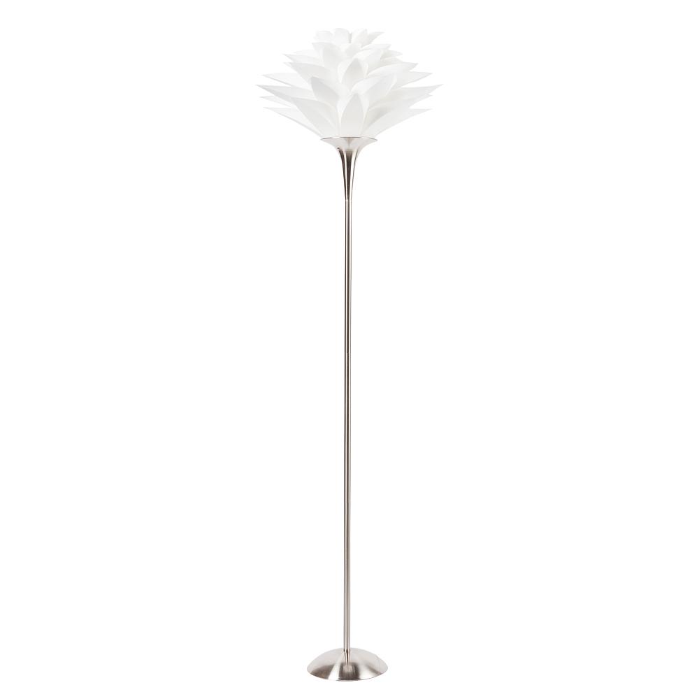 Торшер Artik DG-HOME Напольная лампа: белый ПВХ абажур, основание  никелированное железо; предназначена для  использования со светодиодной лампой Е27-1  лампа (лампа не включена в комплект)