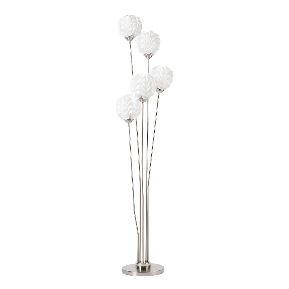Торшер Arfa DG-HOME Напольная лампа: белый ПВХ абажур, основание  никелированное железо; предназначена для  использования со светодиодной лампой Е27-5  ламп (лампа не включена в комплект)