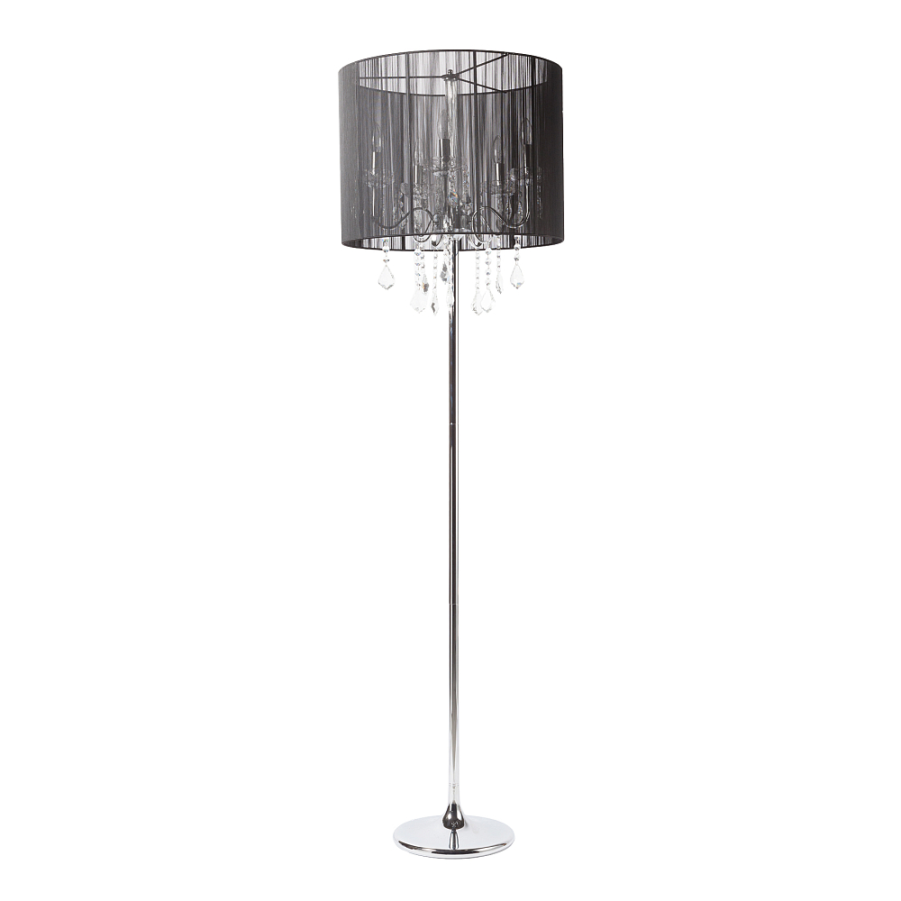Торшер Cazino DG-HOME Напольная лампа: черный тканевый абажур  размер диаметр 50 см, высота 40 см; основание  хромированное железо, хрусталь; предназначена  для использования со светодиодными лампами  Е14-5 лампы (лампы не включены в комплект)