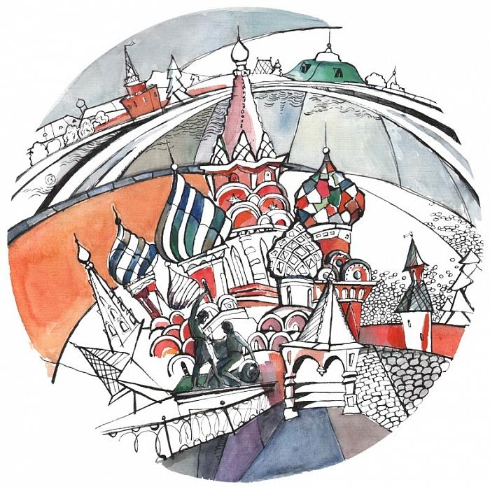 Тарелка сувенирная Собор Василия Блаженного. Зимнее утро