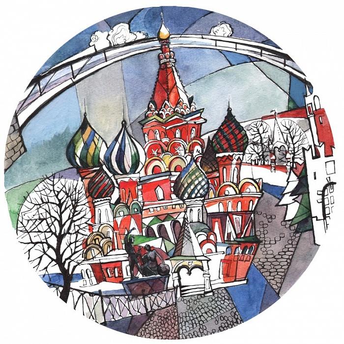 Купить Тарелка сувенирная Собор Василия Блаженного. Вечер в интернет магазине дизайнерской мебели и аксессуаров для дома и дачи