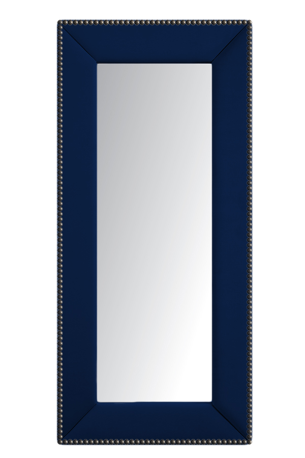 Зеркало напольное с гвоздиками СинееЗеркала<br>Зеркала являются незаменимыми элементами <br>декора или элементами интерьера. Большие <br>зеркала способны создавать причудливые <br>эффекты: зритель увеличивать комнату, создавать <br>иллюзию удлиненной комнаты, углублять ниши. <br>Зеркало в полный рост, имеет, также, практическое <br>применение. Чтобы разобраться, где такие <br>зеркала будут смотреться лучше всего, следует <br>рассмотреть все варианты.<br><br>Цвет: Синее<br>Материал: Древесный материал, Велюр<br>Вес кг: None<br>Длина см: 83<br>Ширина см: 5<br>Высота см: 175
