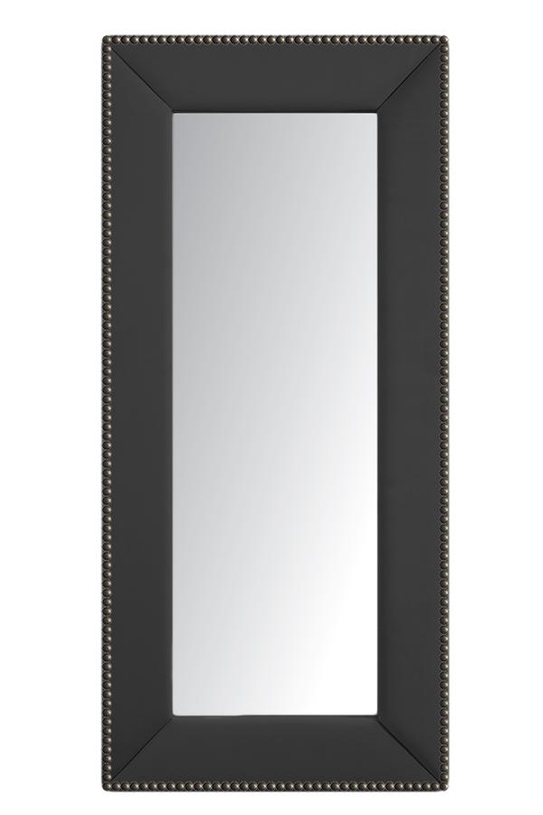 Зеркало напольное с гвоздиками СероеЗеркала<br>Зеркала являются незаменимыми элементами <br>декора или элементами интерьера. Большие <br>зеркала способны создавать причудливые <br>эффекты: зритель увеличивать комнату, создавать <br>иллюзию удлиненной комнаты, углублять ниши. <br>Зеркало в полный рост, имеет, также, практическое <br>применение. Чтобы разобраться, где такие <br>зеркала будут смотреться лучше всего, следует <br>рассмотреть все варианты.<br><br>Цвет: Серый<br>Материал: Древесный материал, Велюр<br>Вес кг: None<br>Длина см: 83<br>Ширина см: 5<br>Высота см: 175