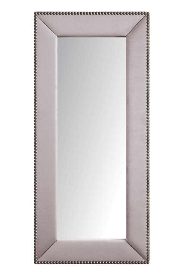 Зеркало напольное с гвоздиками Серо-РозовоеЗеркала<br>Зеркала являются незаменимыми элементами <br>декора или элементами интерьера. Большие <br>зеркала способны создавать причудливые <br>эффекты: зритель увеличивать комнату, создавать <br>иллюзию удлиненной комнаты, углублять ниши. <br>Зеркало в полный рост, имеет, также, практическое <br>применение. Чтобы разобраться, где такие <br>зеркала будут смотреться лучше всего, следует <br>рассмотреть все варианты.<br><br>Цвет: Серый, Розовый<br>Материал: Древесный материал, Велюр<br>Вес кг: None<br>Длина см: 83<br>Ширина см: 5<br>Высота см: 175