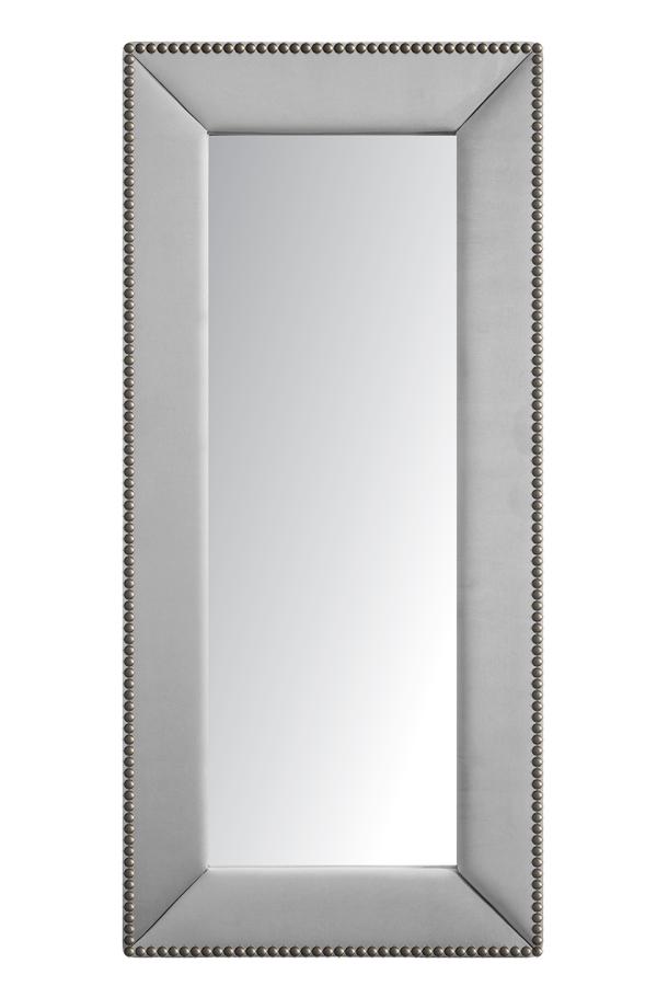 Зеркало напольное с гвоздиками Экокожа Зеркала<br>Зеркала являются незаменимыми элементами <br>декора или элементами интерьера. Большие <br>зеркала способны создавать причудливые <br>эффекты: зритель увеличивать комнату, создавать <br>иллюзию удлиненной комнаты, углублять ниши. <br>Зеркало в полный рост, имеет, также, практическое <br>применение. Чтобы разобраться, где такие <br>зеркала будут смотреться лучше всего, следует <br>рассмотреть все варианты.<br><br>Цвет: Серебро<br>Материал: Древесный материал, Экокожа<br>Вес кг: None<br>Длина см: 83<br>Ширина см: 5<br>Высота см: 175