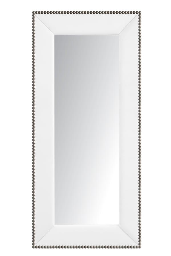 Зеркало напольное с гвоздиками Экокожа Зеркала<br>Зеркала являются незаменимыми элементами <br>декора или элементами интерьера. Большие <br>зеркала способны создавать причудливые <br>эффекты: зритель увеличивать комнату, создавать <br>иллюзию удлиненной комнаты, углублять ниши. <br>Зеркало в полный рост, имеет, также, практическое <br>применение. Чтобы разобраться, где такие <br>зеркала будут смотреться лучше всего, следует <br>рассмотреть все варианты.<br><br>Цвет: Белый<br>Материал: Древесный материал, Экокожа<br>Вес кг: None<br>Длина см: 83<br>Ширина см: 5<br>Высота см: 175