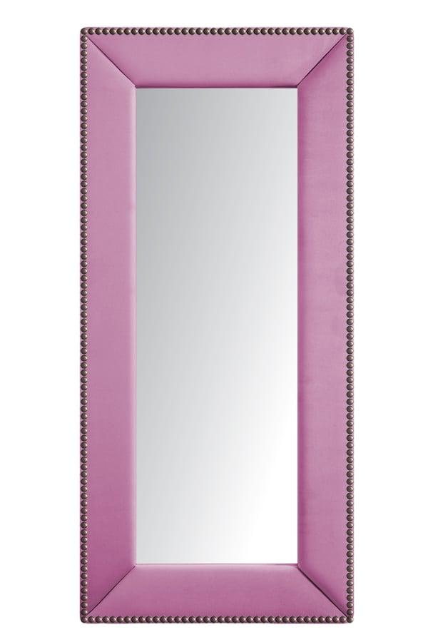 Зеркало напольное с гвоздиками Экокожа • Перламутровое