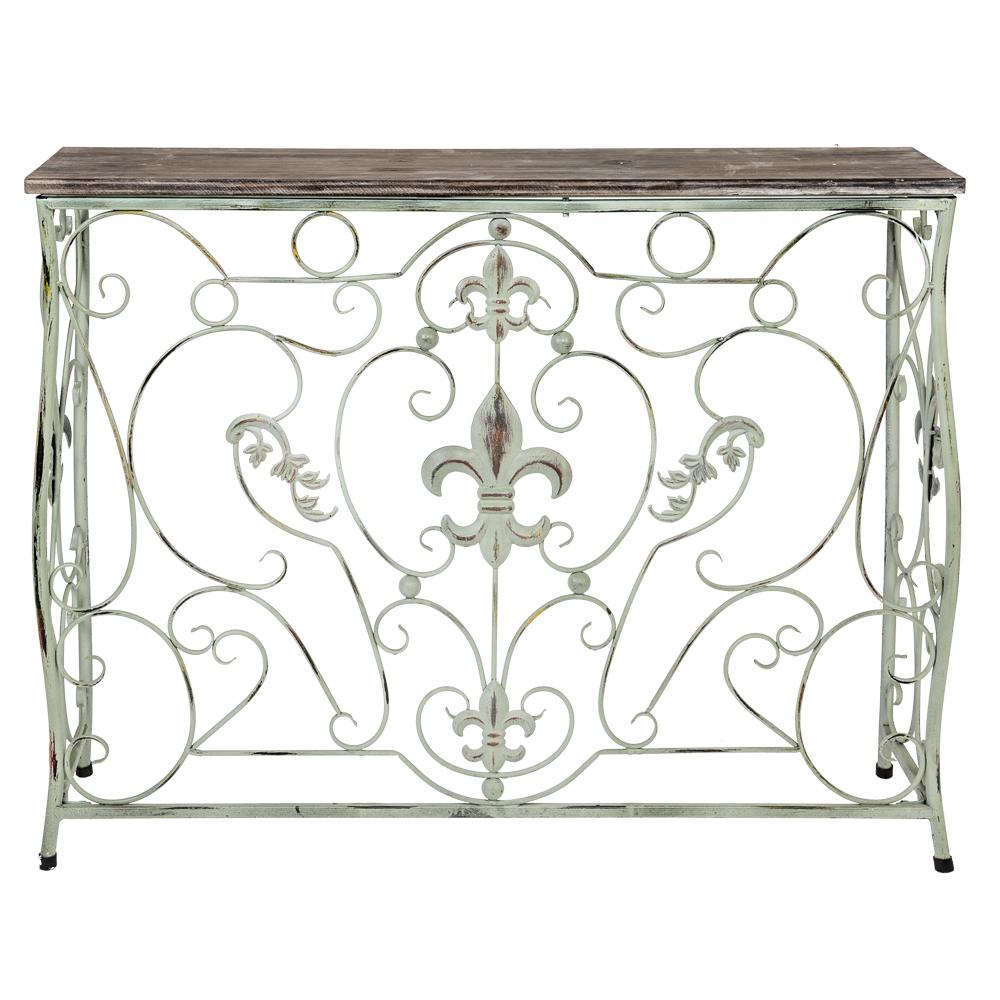 Купить Консоль «Королевская лилия» (лайт-аква антик, версия L) в интернет магазине дизайнерской мебели и аксессуаров для дома и дачи