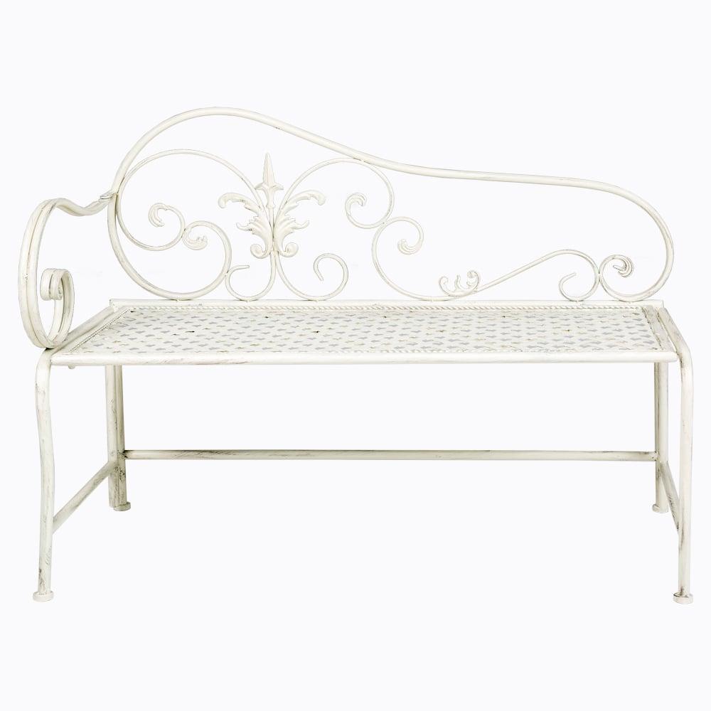 Купить Металлическая скамья «Лемож» Белая в интернет магазине дизайнерской мебели и аксессуаров для дома и дачи