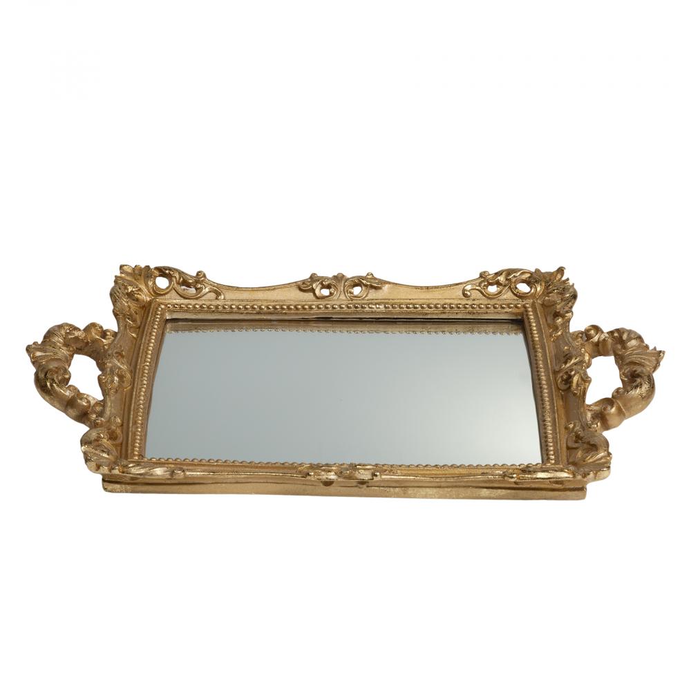 Зеркальный поднос Ashland ПрямоугольныйПодносы<br>Зеркальный поднос: основание полирезина <br>и зеркало<br><br>Цвет: Золото<br>Материал: Полирезина, Зеркало<br>Вес кг: 0,9<br>Длина см: 39,5<br>Ширина см: 27<br>Высота см: 3,5