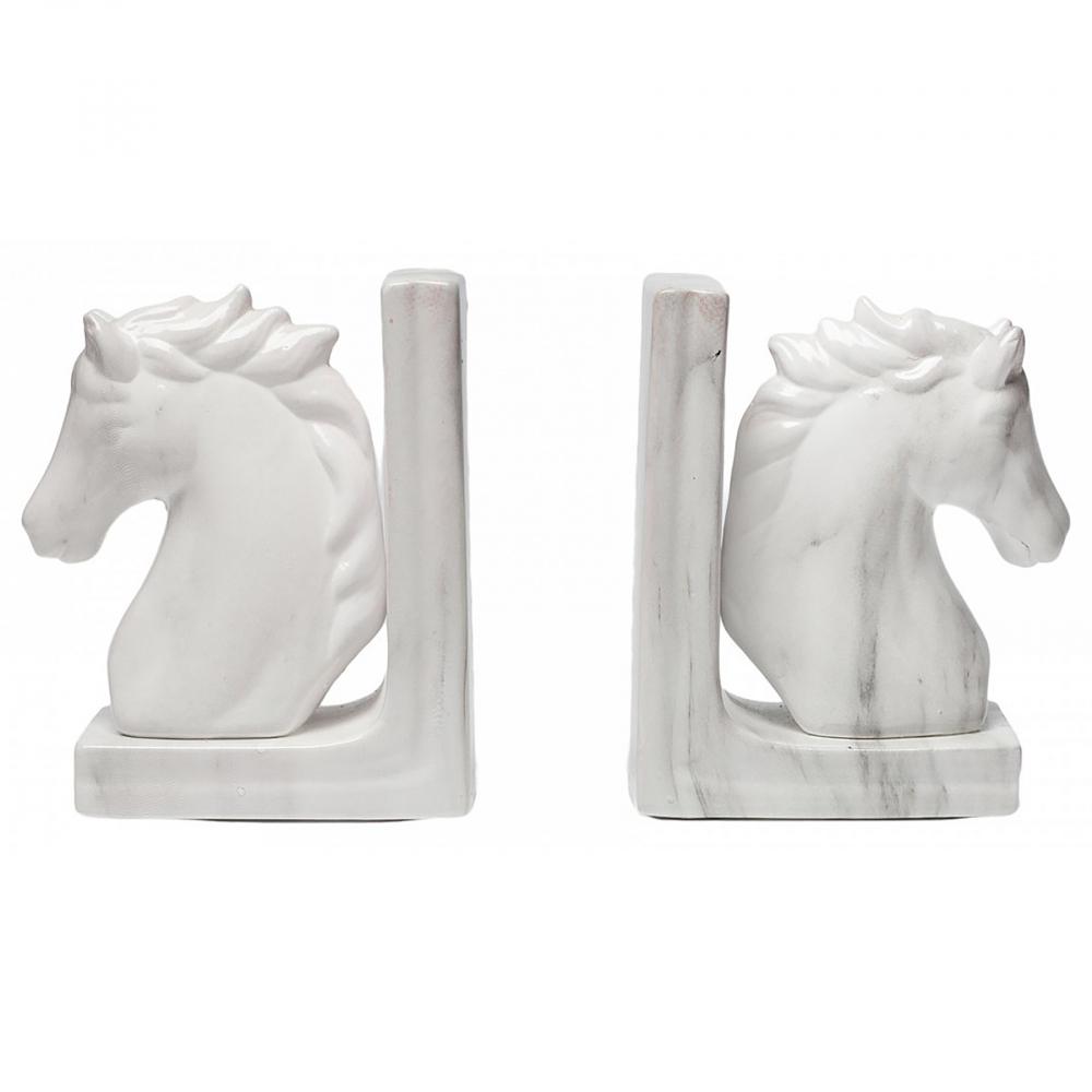 Набор держателей для книг HorsesДержатели для книг<br><br><br>Цвет: Белый<br>Материал: Керамика<br>Вес кг: 2<br>Длина см: 16,5<br>Ширина см: 11<br>Высота см: 19