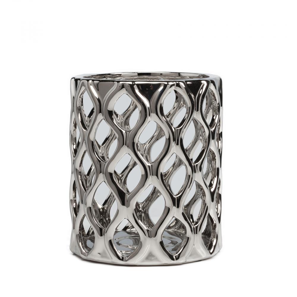 Декоративная ваза OasisВазы<br><br><br>Цвет: Серебро<br>Материал: Керамика<br>Вес кг: 1,2<br>Длина см: 18<br>Ширина см: 18<br>Высота см: 20