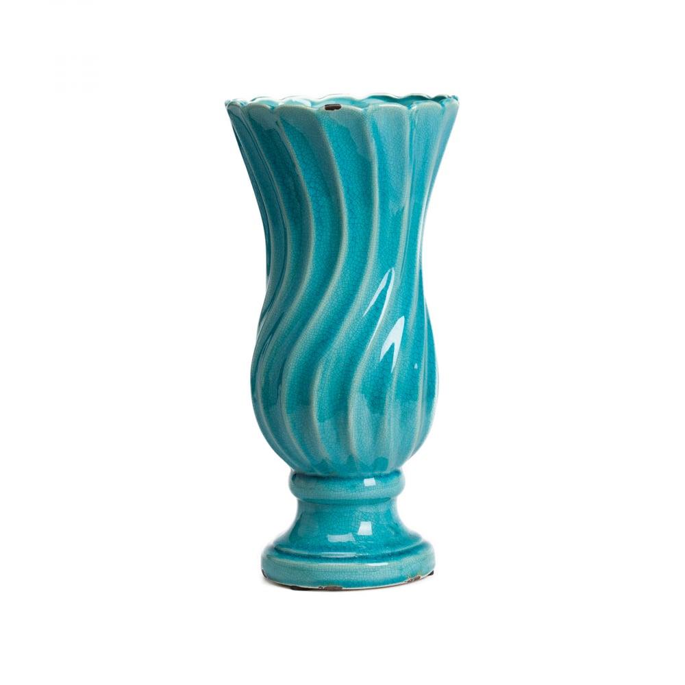 Декоративная ваза Lola ГолубаяВазы<br><br><br>Цвет: Бирюзовый<br>Материал: Керамика<br>Вес кг: 1,5<br>Длина см: 16,5<br>Ширина см: 16,5<br>Высота см: 33