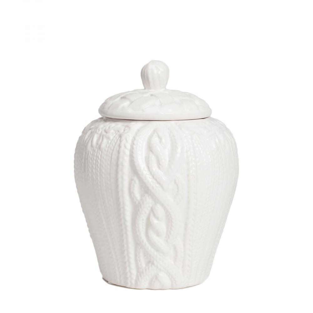 Декоративная ваза с крышкой Lindley для хранения продуктов Маленькая Белая