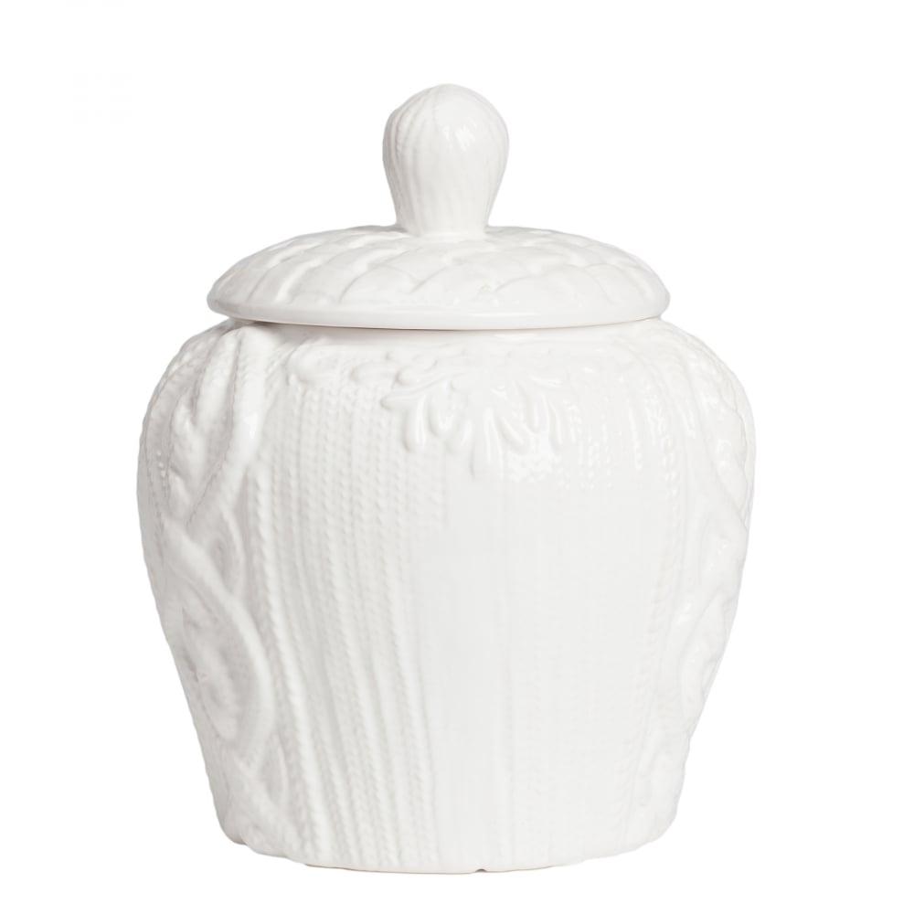 Декоративная ваза с крышкой Lindley для хранения продуктов Большая Белая