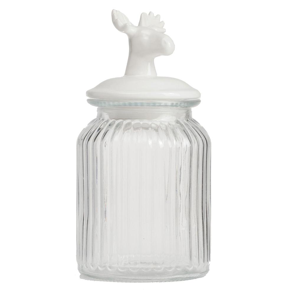 Декоративная банка с крышкой Deer СредняяКухонные принадлежности<br>Декоративная банка с крышкой: стеклянная, <br>керамическая крышка<br><br>Цвет: Белый<br>Материал: Стекло, Керамика<br>Вес кг: 0,7<br>Длина см: 10<br>Ширина см: 10<br>Высота см: 22