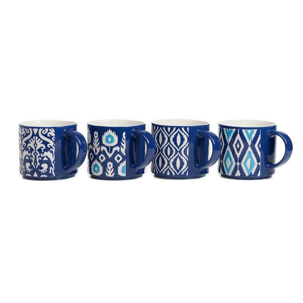 Набор из 4 чашек CharmerЧашки<br><br><br>Цвет: Синий<br>Материал: Керамика<br>Вес кг: 1,6<br>Длина см: 14<br>Ширина см: 10<br>Высота см: 9