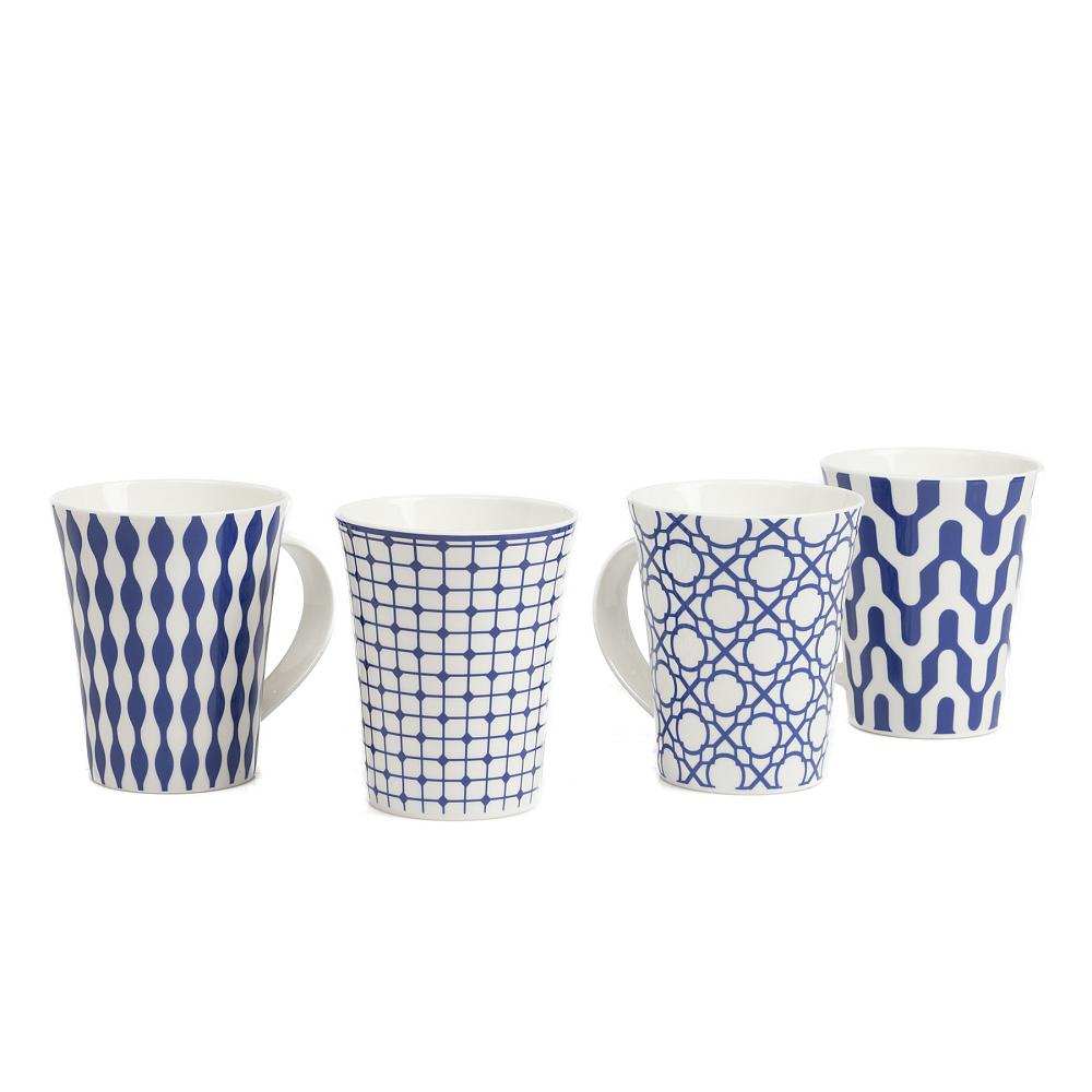 Набор из 4 кружек CharmerКружки<br><br><br>Цвет: Синий<br>Материал: Керамика<br>Вес кг: 1,1<br>Длина см: 11,5<br>Ширина см: 9<br>Высота см: 11