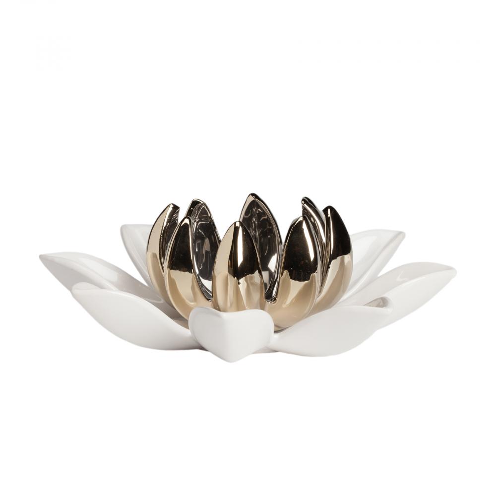Набор декоративных цветов из керамики Декор для дома<br>Большой цветок D25,5*9 см, маленький цветок <br>D13*8 см<br><br>Цвет: Золото<br>Материал: Керамика<br>Вес кг: 0,75<br>Длина см: 25,5<br>Ширина см: 25,5<br>Высота см: 9