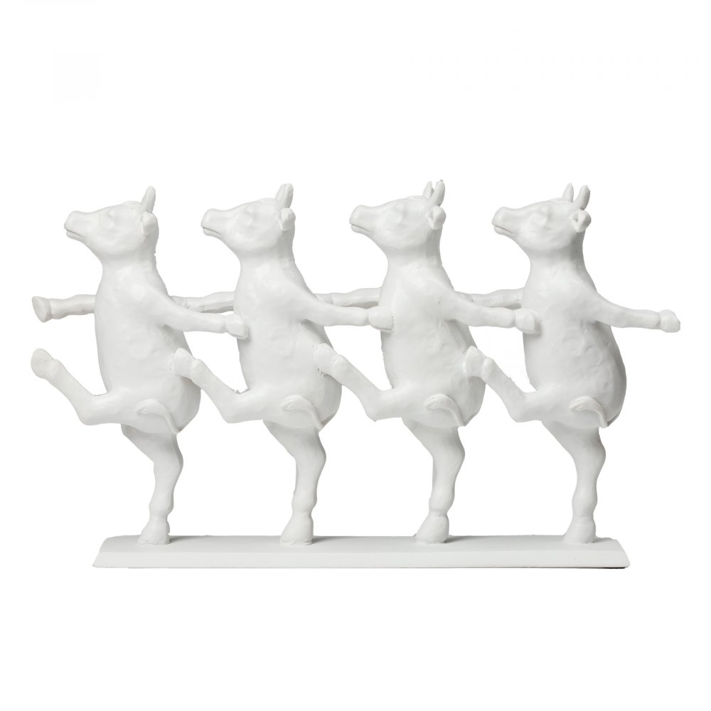 Коровы танцующие декоративныеСтатуэтки<br><br><br>Цвет: Белый<br>Материал: Полирезина<br>Вес кг: 1,3<br>Длина см: 23<br>Ширина см: 39,5<br>Высота см: 16,5