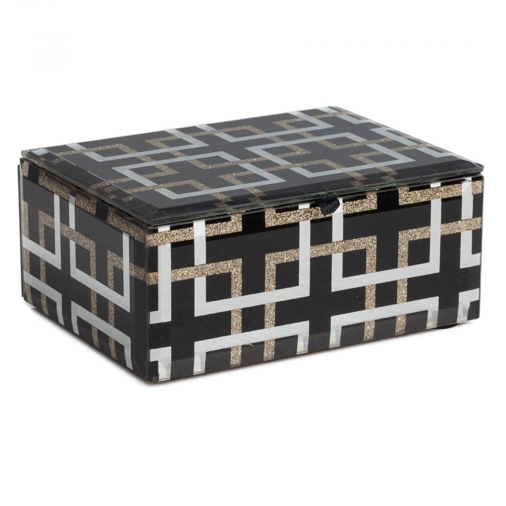 Декоративная коробка Abbe МаленькаяШкатулки и подставки для украшений<br>Декоративная коробка: МДФ основание, отделка <br>из стекла<br><br>Цвет: Чёрный<br>Материал: МДФ, Стекло<br>Вес кг: 0,4<br>Длина см: 13<br>Ширина см: 9,5<br>Высота см: 6