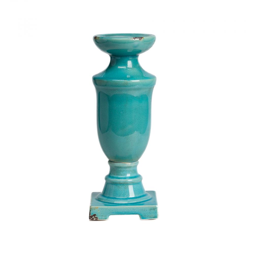 Подсвечник Aphrodite БольшойСвечи и подсвечники<br><br><br>Цвет: Бирюзовый<br>Материал: Керамика<br>Вес кг: 1,5<br>Длина см: 13<br>Ширина см: 13<br>Высота см: 34,5