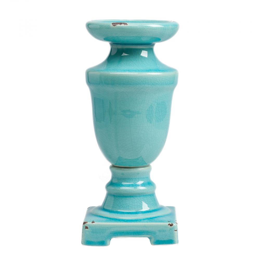 Подсвечник Aphrodite МаленькийСвечи и подсвечники<br><br><br>Цвет: Бирюзовый<br>Материал: Керамика<br>Вес кг: 0,85<br>Длина см: 11,5<br>Ширина см: 11,5<br>Высота см: 25,5
