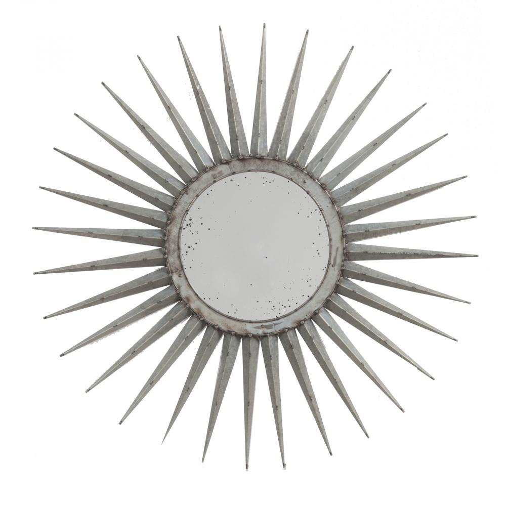 Зеркало-солнце Starburst Маленькое СереброЗеркала<br><br><br>Цвет: Серебро<br>Материал: Металл<br>Вес кг: 3,1<br>Длина см: 76<br>Ширина см: 4<br>Высота см: 76