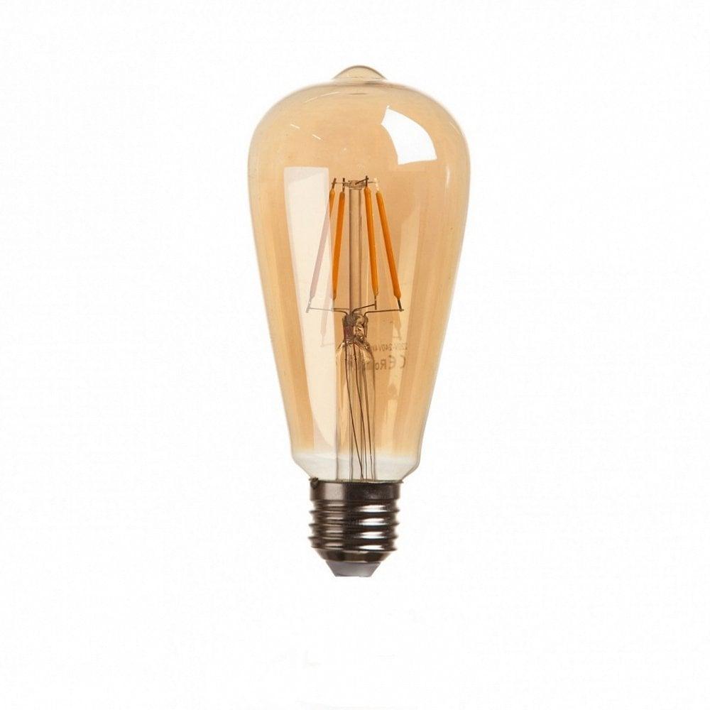 Светодиодная лампочка ST64 FilamentПодвесные светильники<br><br><br>Цвет: Прозрачный<br>Материал: Стекло<br>Вес кг: 0,3<br>Длина см: 6,4<br>Ширина см: 6,4<br>Высота см: 13,97