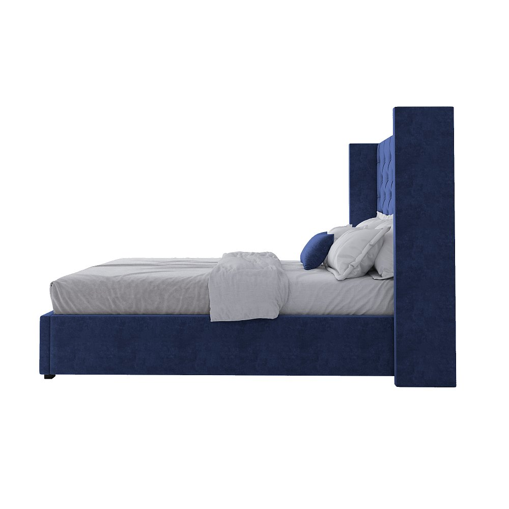 Кровать Wing-2 140х200 Велюр Синий Р