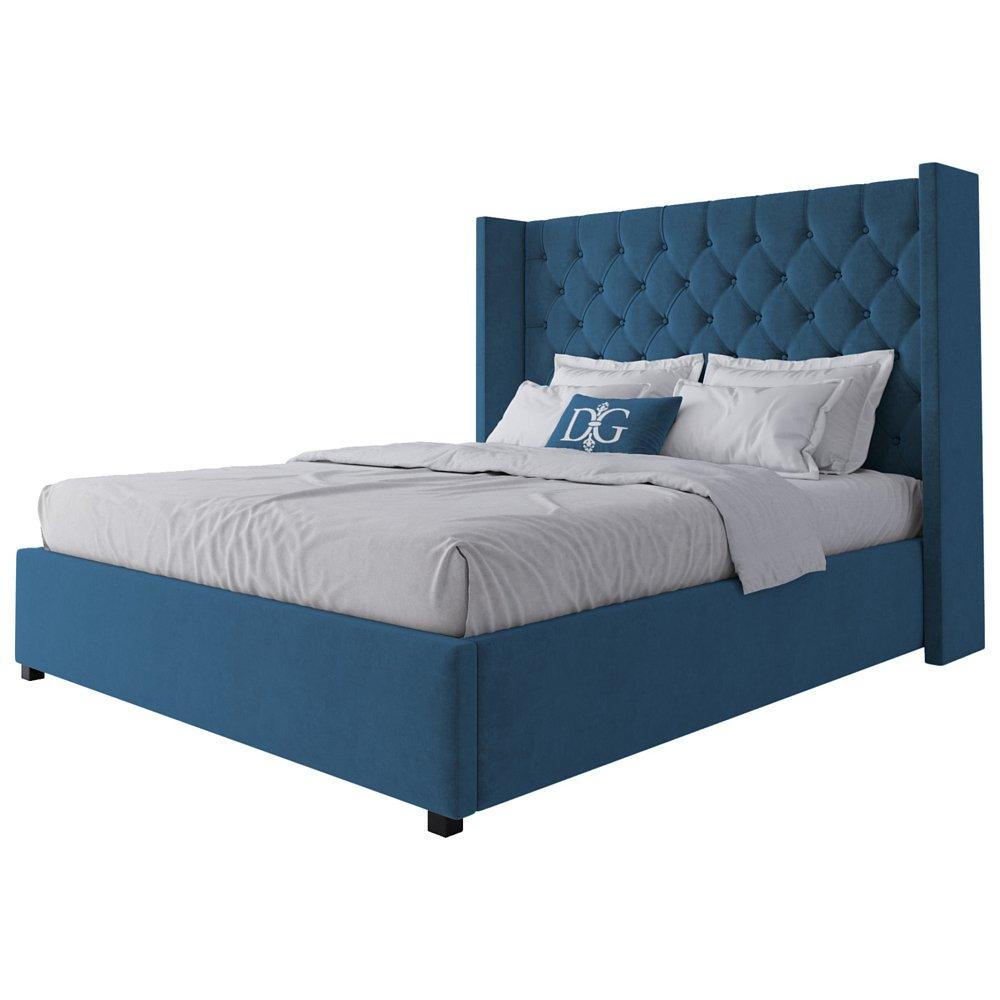 Кровать Wing-2 160х200 Велюр Морская волнаКровати<br>Кровать Wing-2 — очарование классики, заключенное <br>в современном силуэте. Кровать, отвечающая <br>всем модным тенденциям, отменно дополнит <br>интерьер сдержанной и элегантной спальни. <br>Изголовье с «ушами», каретная стяжка обивки <br>из мебельного велюра с пропиткой от загрязнения <br>и спрятанные в каркасе из натурального <br>дерева (сосна) ножки будут смотреться и <br>оригинально в сочетании со строгими формами. <br>Добавить интерьеру великолепия, не перейдя <br>грань помпезности, с такой кроватью будет <br>легко. Размер спального места: 160*200 см. Ортопедическое <br>основание и матрас в комплект не входит. <br>На заказ изготовим любой цвет (из палетки <br>на фото) и размер. Срок изготовления заказной <br>позиции — 30 дней. Для заказа просто добавьте <br>кровать в корзину — наш менеджер свяжется <br>с вами и расскажет все подробности.<br><br>Цвет: Морская волна<br>Материал: Дерево, Ткань<br>Вес кг: 78<br>Длина см: 180<br>Ширина см: 225<br>Высота см: 143