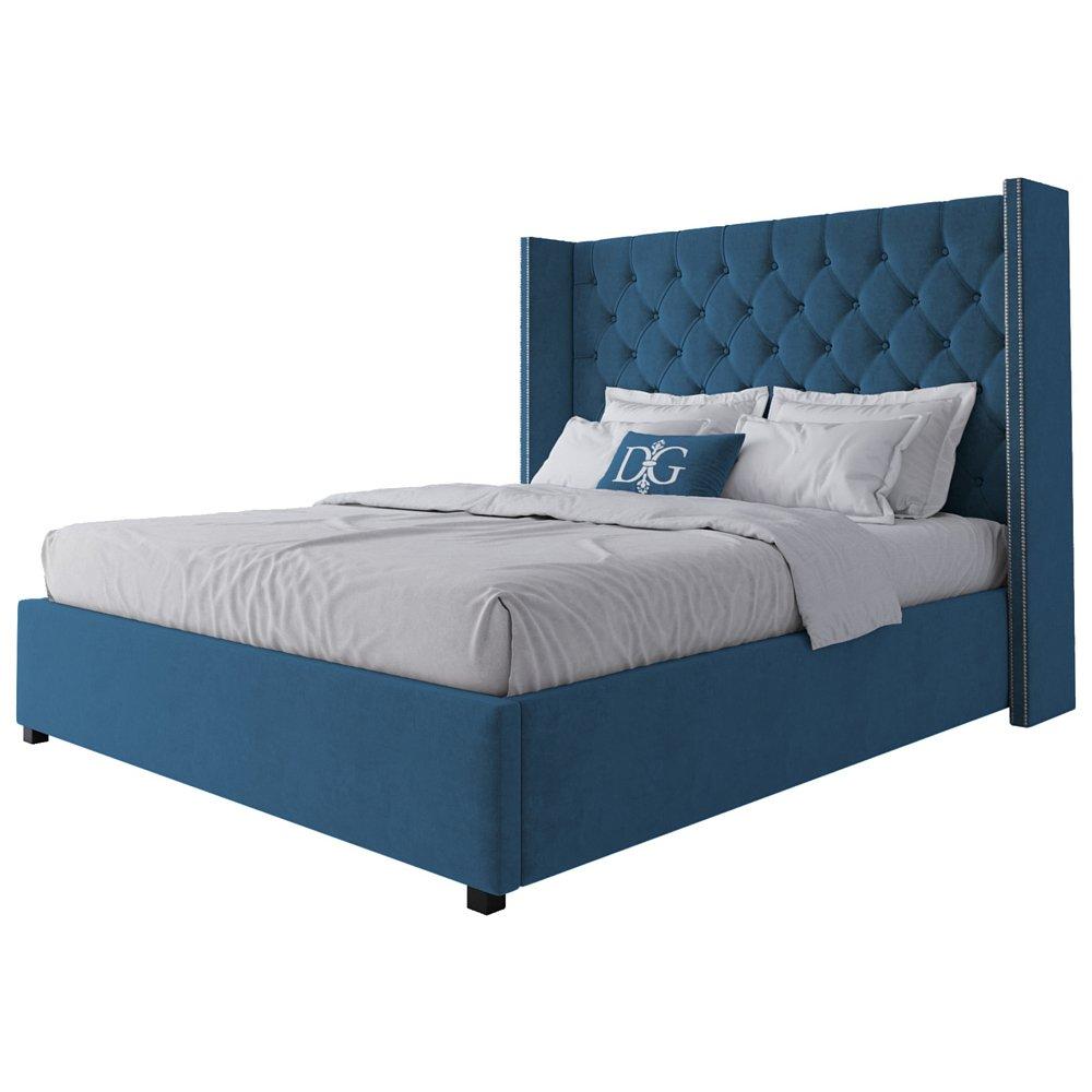 Кровать с декоративными гвоздиками Wing 160х200 Велюр Морская волна
