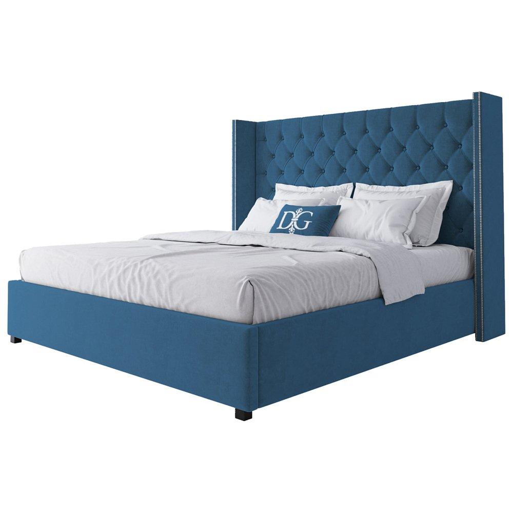 Кровать с декоративными гвоздиками Wing Кровати<br>Кровать Wing — очарование классики, заключенное <br>в современном силуэте. Кровать, отвечающая <br>всем модным тенденциям, отменно дополнит <br>интерьер сдержанной и элегантной спальни. <br>Изголовье с «ушами», декорированными с <br>торца мебельными гвоздиками, каретная стяжка <br>обивки из мебельного велюра с пропиткой <br>от загрязнения и спрятанные в каркасе из <br>натурального дерева (сосна) ножки будут <br>смотреться и оригинально в сочетании со <br>строгими формами. Добавить интерьеру великолепия, <br>не перейдя грань помпезности, с такой кроватью <br>будет легко. Размер спального места: 180*200 <br>см. Ортопедическое основание и матрас в <br>комплект не входят. На заказ изготовим любой <br>цвет (из палетки на фото) и размер. Срок изготовления <br>заказной позиции — 30 дней. Для заказа просто <br>добавьте кровать в корзину — наш менеджер <br>свяжется с вами и расскажет все подробности.<br><br>Цвет: Морская волна<br>Материал: Дерево, Ткань<br>Вес кг: 88<br>Длина см: 200<br>Ширина см: 225<br>Высота см: 143
