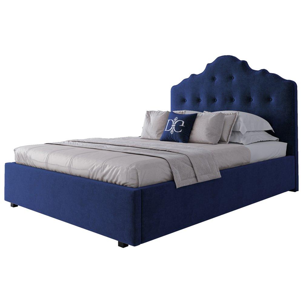 Кровать Palace 140х200 Велюр СинийКровати<br>Великолепная двуспальная кровать Palace синего <br>цвета изготовлена в стиле современного <br>ар-деко. Каркас кровати изготовлен из МДФ, <br>на ножках из алюминиевого сплава. Высокое <br>фигурное изголовье, обитое тёмно-синей <br>замшей, украшено стёжкой капитоне. Изящество <br>линий и форм, изысканный дизайн и эффектный <br>цвет делают эту модель неотразимой. Она <br>смотрится одновременно уютно и элегантно, <br>создавая в вашей спальне умиротворяющую <br>атмосферу тишины и покоя. Ортопедическое <br>основание и матрас в комплект не входят. <br>На заказ изготовим любой цвет (из палетки <br>на фото) и размер. Срок заказной позиции <br>— 30 дней. Для заказа просто добавьте кровать <br>в корзину — наш менеджер свяжется с вами <br>и расскажет все подробности.<br><br>Цвет: Синий<br>Материал: МДФ, Ткань<br>Вес кг: 145<br>Длина см: 157<br>Ширина см: 223<br>Высота см: 143