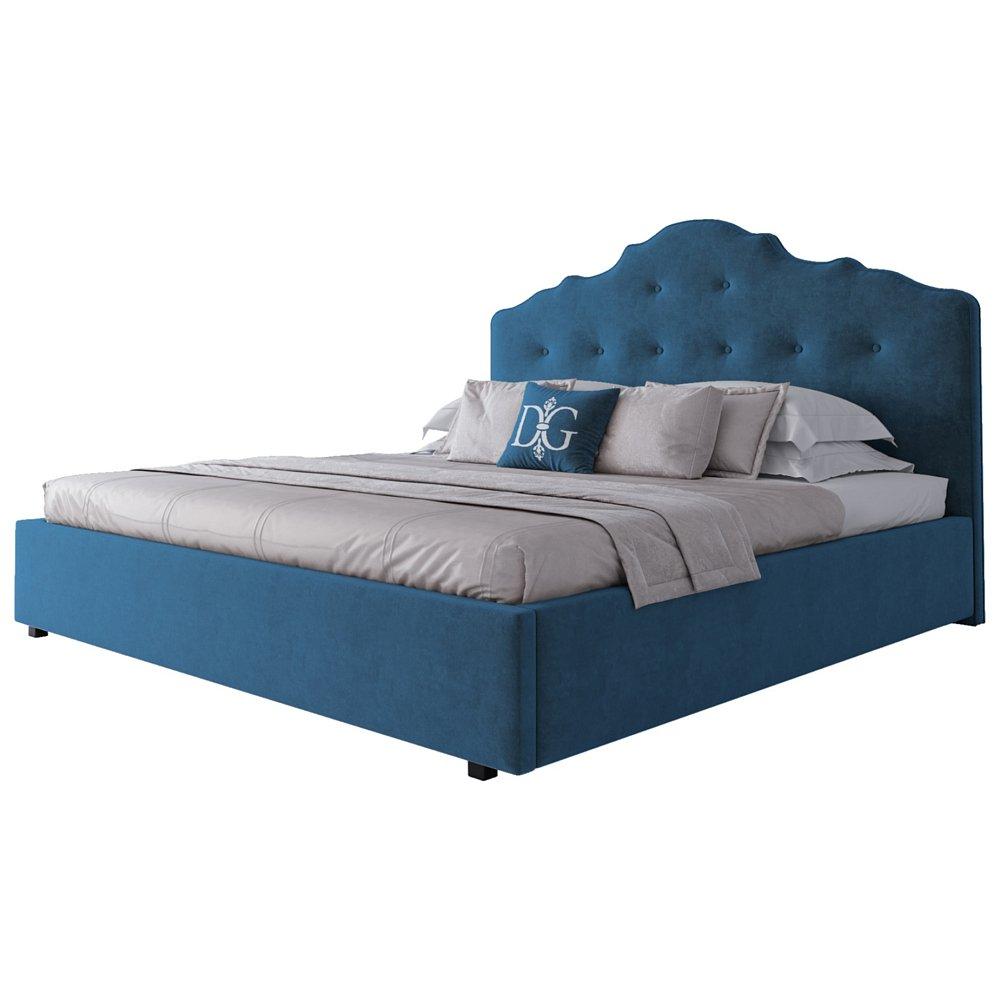 Кровать Palace 200х200 Велюр Морская волнаКровати<br>Великолепная двуспальная кровать Palace цвета <br>морской волны изготовлена в стиле современного <br>ар-деко. Каркас кровати изготовлен из МДФ, <br>на ножках из алюминиевого сплава. Высокое <br>фигурное изголовье, обитое тёмно-синей <br>замшей, украшено стёжкой капитоне. Изящество <br>линий и форм, изысканный дизайн и эффектный <br>цвет делают эту модель неотразимой. Она <br>смотрится одновременно уютно и элегантно, <br>создавая в вашей спальне умиротворяющую <br>атмосферу тишины и покоя. Ортопедическое <br>основание и матрас в комплект не входят. <br>На заказ изготовим любой цвет (из палетки <br>на фото) и размер. Срок заказной позиции <br>— 30 дней. Для заказа просто добавьте кровать <br>в корзину — наш менеджер свяжется с вами <br>и расскажет все подробности.<br><br>Цвет: Морская волна<br>Материал: МДФ, Ткань<br>Вес кг: 200<br>Длина см: 217<br>Ширина см: 223<br>Высота см: 143