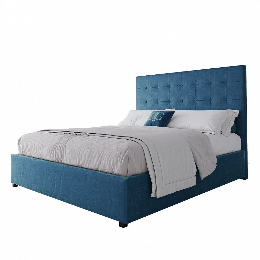 Кровать Royal Black 160х200 Велюр Морская волна