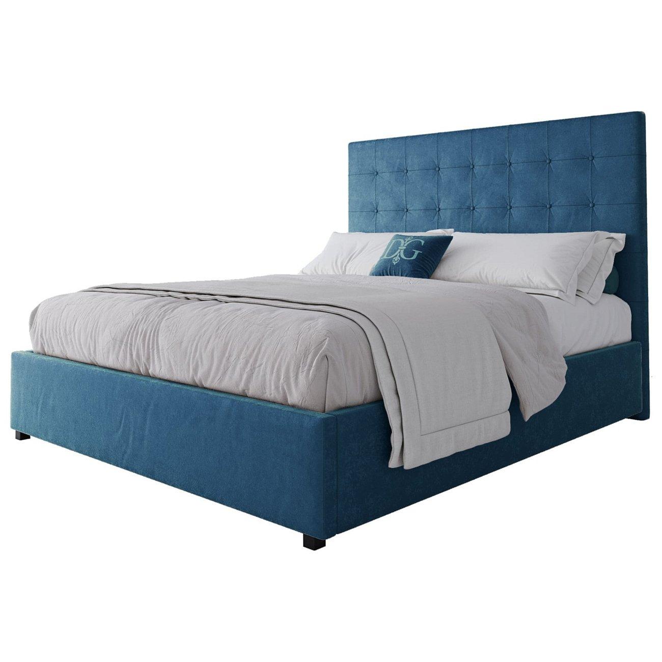 Купить Кровать Royal Black 160х200 Велюр Морская волна в интернет магазине дизайнерской мебели и аксессуаров для дома и дачи