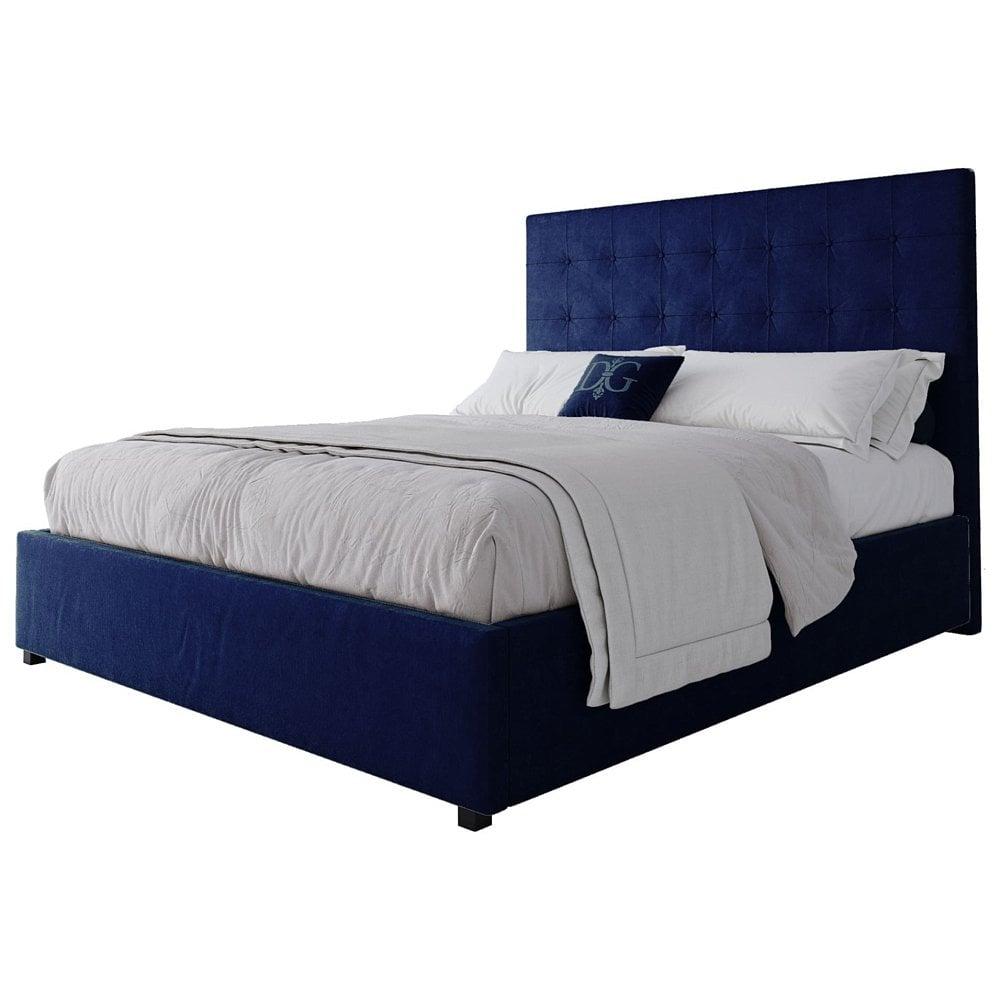 Фото Кровать Royal Black 160х200 Велюр Синий. Купить с доставкой