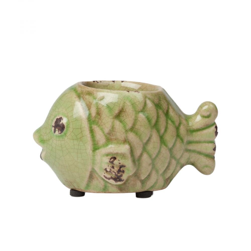 Подсвечник Рыбка ЗелёныйСвечи и подсвечники<br><br><br>Цвет: Зелёный<br>Материал: Керамика<br>Вес кг: 0,19<br>Длина см: 10<br>Ширина см: 6,5<br>Высота см: 6