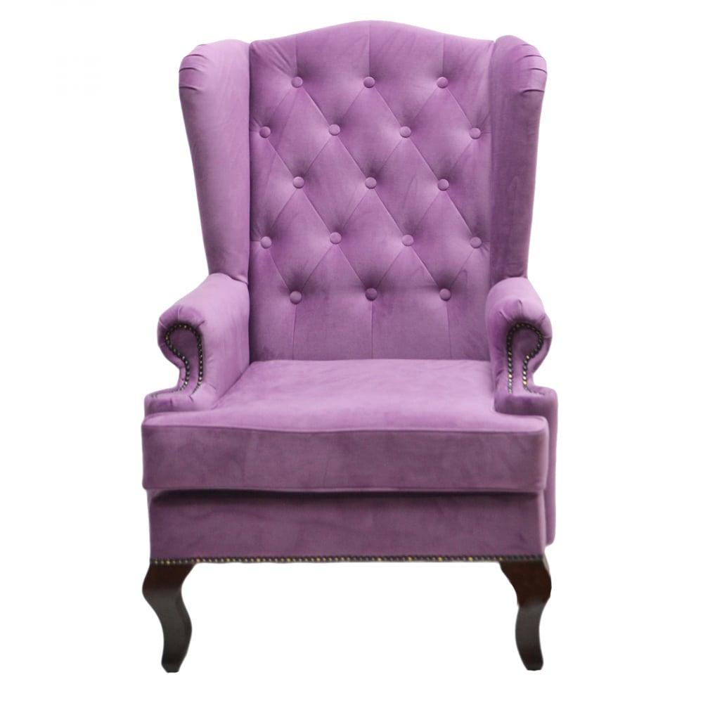Фото Каминное кресло с ушами Велюр Лиловый. Купить с доставкой