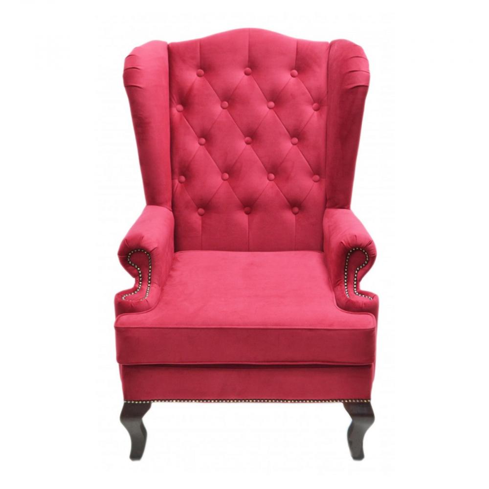 Фото Каминное кресло с ушами Велюр Красный. Купить с доставкой