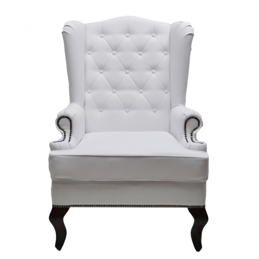 Фото Каминное кресло с ушами Экокожа Белая. Купить с доставкой