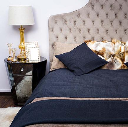 Купить Покрывало NATALIE  на двуспальную кровать Тёмно-синее в интернет магазине дизайнерской мебели и аксессуаров для дома и дачи