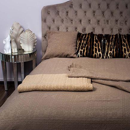 Купить Покрывало NATALIE на двуспальную кровать Кофе в интернет магазине дизайнерской мебели и аксессуаров для дома и дачи
