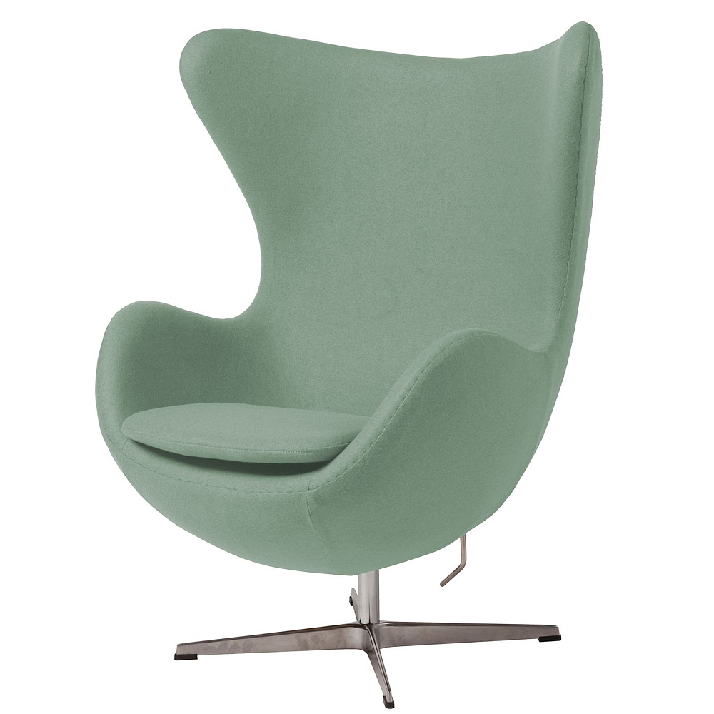 Кресло Egg Chair цвета Тиффани 100% ШерстьКресла<br><br><br>Цвет: Тиффани<br>Материал: Шерсть, Металл<br>Вес кг: 37<br>Длина см: 82<br>Ширина см: 76<br>Высота см: 105
