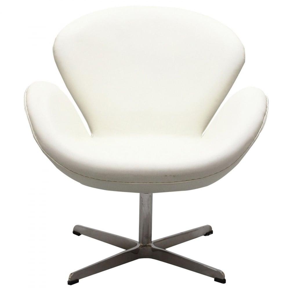 Фото Кресло Swan Chair Белая Экокожа. Купить с доставкой
