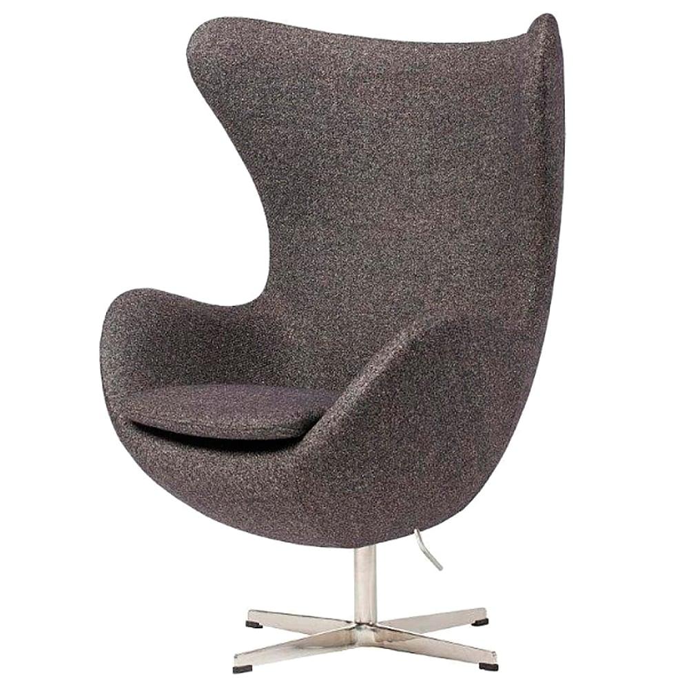 Кресло Egg Chair Серое100% ШерстьКресла<br>Кресло Egg Chair (Яйцо), созданное в 1958 году <br>датским дизайнером Арне Якобсеном, обладает <br>исключительной привлекательностью и узнаваемостью <br>во всем мире, занимает особое место в ряду <br>культовой дизайнерской мебели XX века. Оно <br>имеет экстравагантную форму и неординарное <br>исполнение, что позволило ему стать совершенным <br>воплощением классики нового времени. Кресло <br>Egg Chair, выполненное в форме яйца, подарит <br>огромное множество положительных эмоций <br>и заставляет обращать на него внимание. <br>Оно непременно задаёт основу для дизайна <br>того или иного помещения. Прочный и массивный <br>каркас из стекловолокна, обтянутый 100% кашемировой <br>тканью, и ножка из нержавеющей стали гарантируют <br>долгий срок службы и устойчивость. Данное <br>кресло — это поистине не стареющая классика <br>в футуристическом исполнении! Купите великолепную <br>реплику кресла Egg Chair — изготовленное из <br>высококачественных материалов, оно понравится <br>многим любителям нестандартного видения <br>обыденных и, притом, качественных вещей.<br><br>Цвет: Серый<br>Материал: Шерсть<br>Вес кг: 37<br>Длина см: 82<br>Ширина см: 76<br>Высота см: 105
